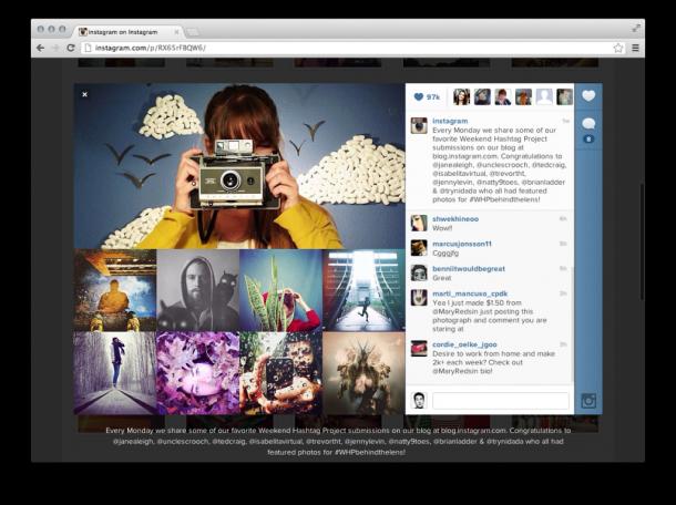 Instagram apresenta versão para a web. Sendo primariamente uma rede social mobile, o instagram se diferenciava de concorrentes como facebook e google+ por não possuir uma versão-espelho dos perfis de seus usuários na web. Agora, em razão da crescente demanda e motivação dos usuários, o time de 14 desenvolvedores da rede social criou uma versão dos perfis para navegadores web, que pode ser visualizada...