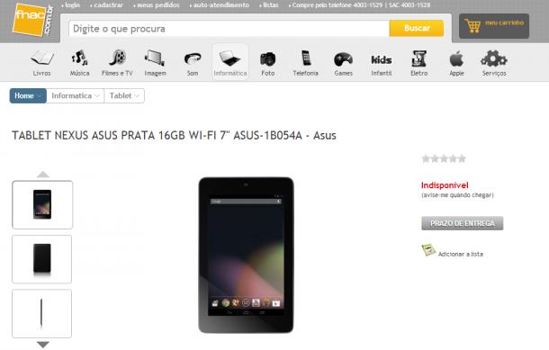 Nexus 7 aparece no site da FNAC 610x389 - Nexus 7 aparece no site da FNAC