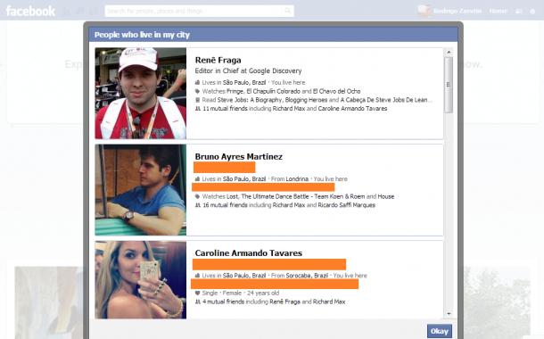 Exemplo facebook graph search