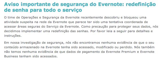 Evernote é atacada por hackers