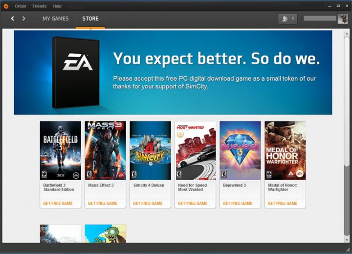 EA Free Game 2 720x520 - Compradores do novo SimCity ganham jogos extras para compensar problemas com servidores