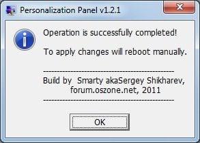 Personalization panel 1. 2. 1