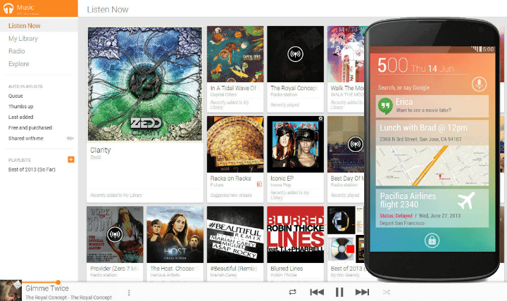 Google music android free play all access