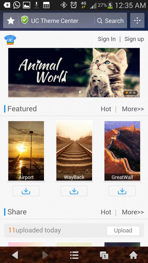 Navegador UC Browser para o Android