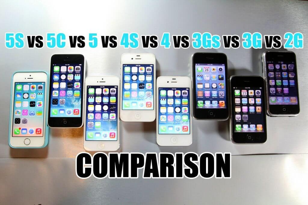 iPhone 5S vs 5C vs 5 vs 4S vs 4 vs 3Gs vs 3G vs 2G comparativo