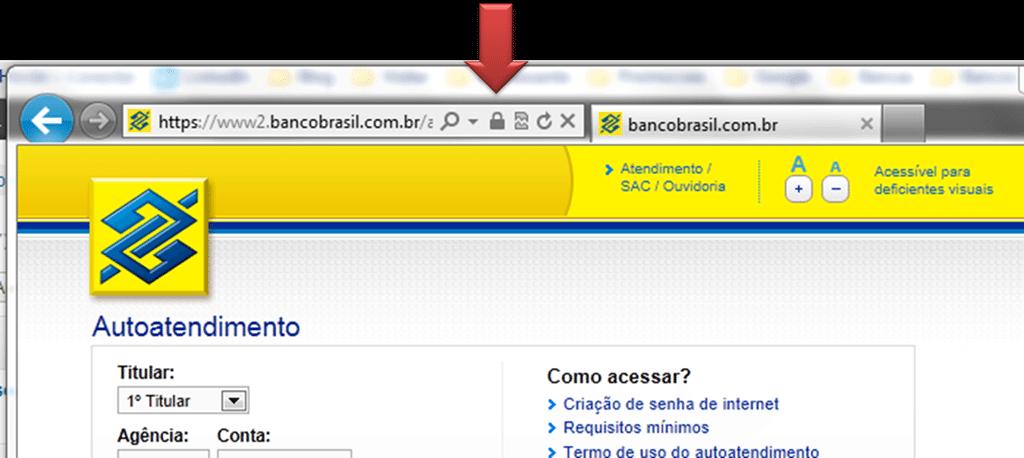 Ícone de cadeado no navegador indica o uso da proteção de dados