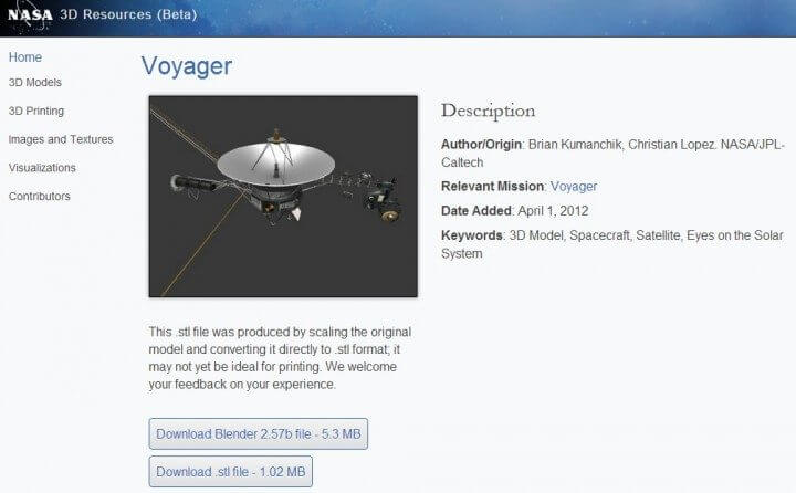 Nasa transforma planetas e sondas espaciais em modelos para impressoras 3d