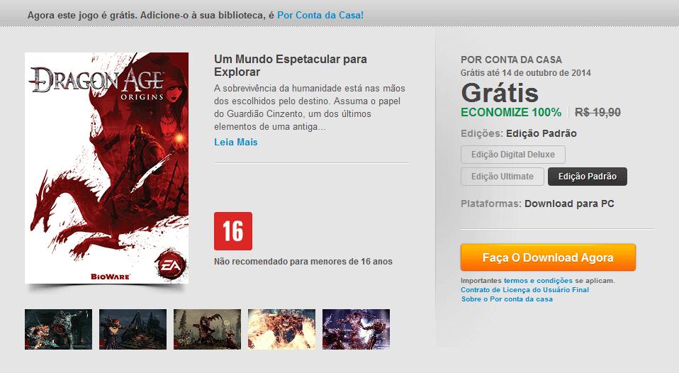 capturar - Origin oferece Dragon Age: Origins grátis por tempo limitado