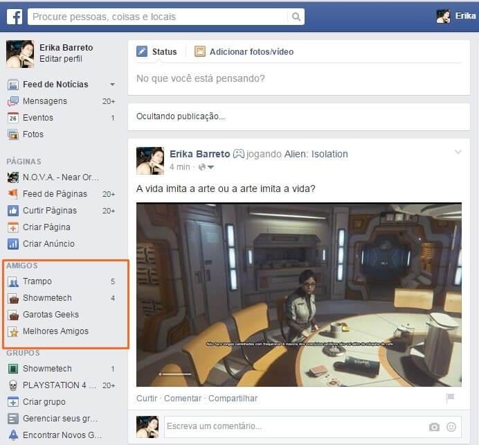 Facebook feed dos amigos