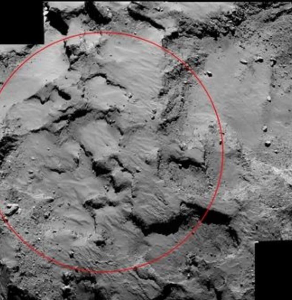 rosetta capturou imagem do ponto j handout nasaesa afp - Sonda Rosetta tira foto do local de pouso em um cometa