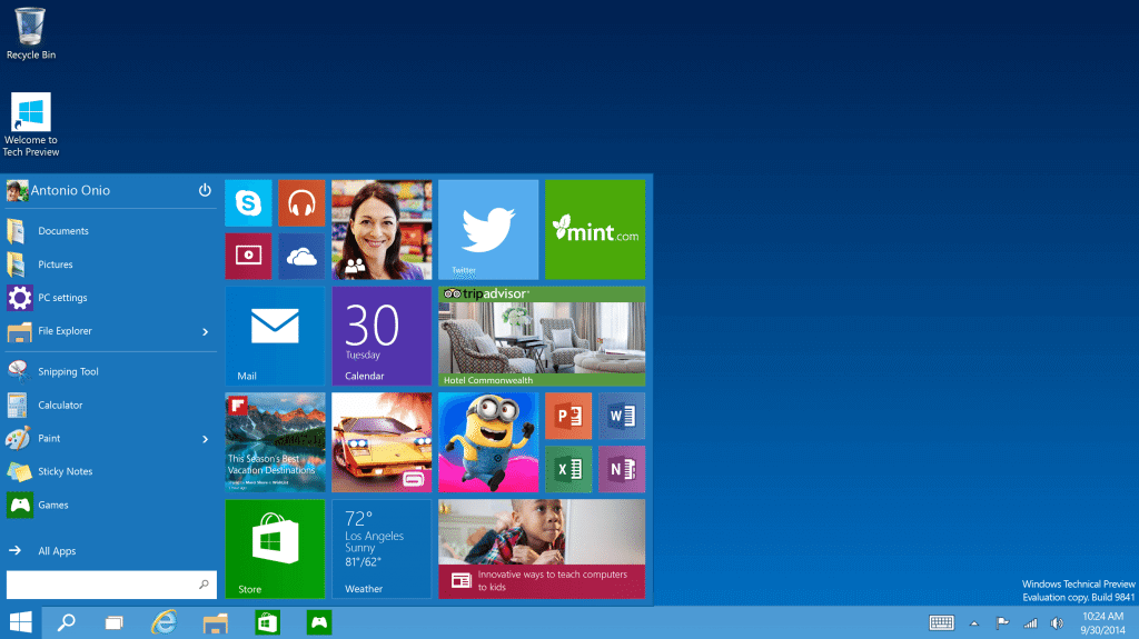 Windows 10 - Technical Preview - Start Menu