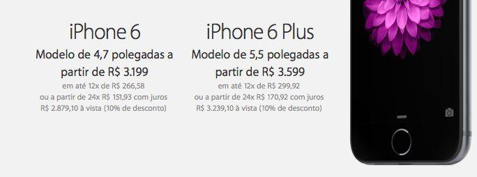 precos iphone6 - Apple confirma os preços do iPhone 6 no Brasil