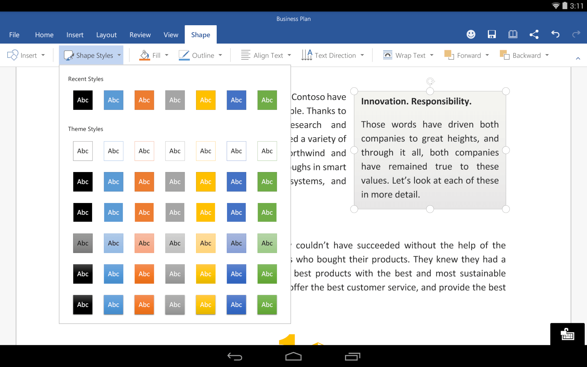 word for android preview 3 - Microsoft abre beta do Office para tablets Android