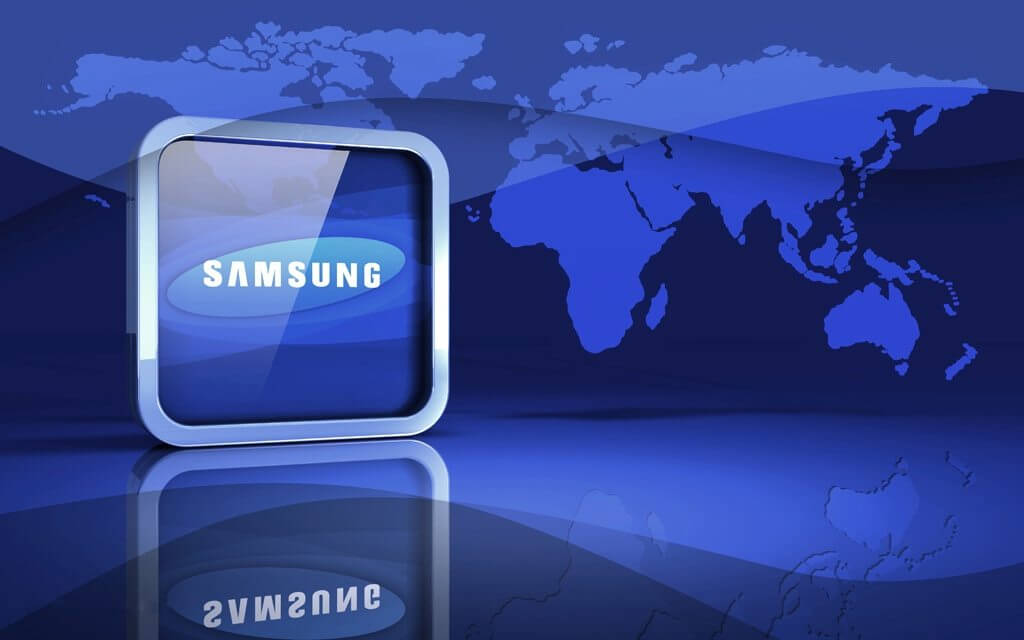 3d illustration of a glossy metallic Samsung Electronics logo standing upright in front of a blue world map and reflective surface