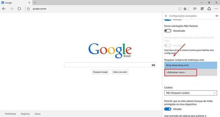 Tutorial adicionar a busca do google no windows 10 Microsoft Edge Passo 4 (Reprodução/Julian Leno)