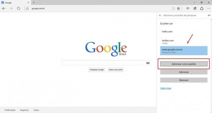 Tutorial adicionar a busca do google no windows 10 Microsoft Edge Passo 5 (Reprodução/Julian Leno)