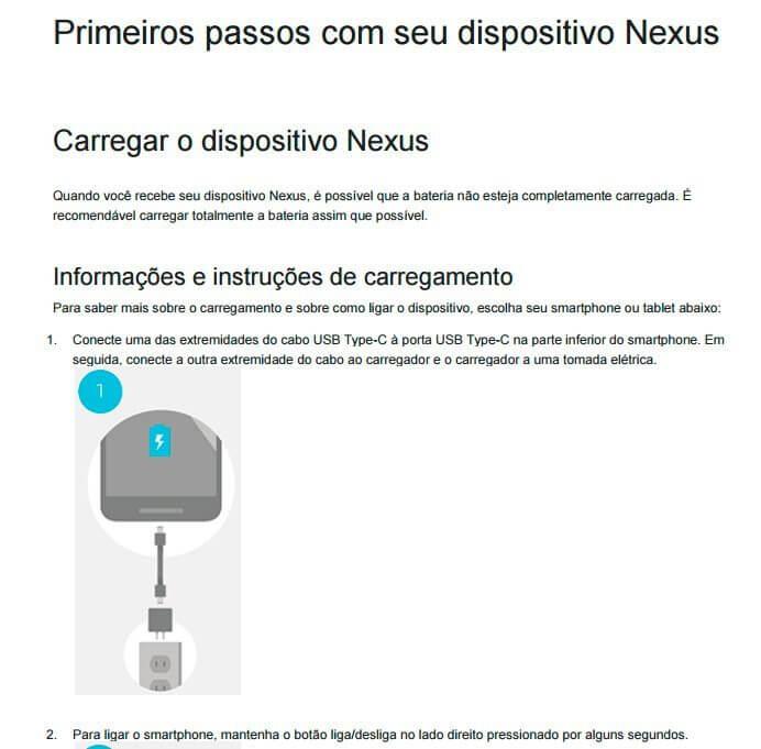 Trecho do manual em português