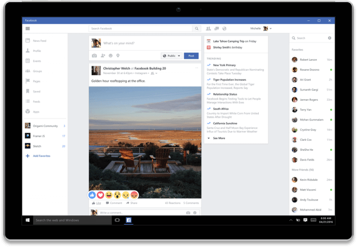 Facebook para Windows 10