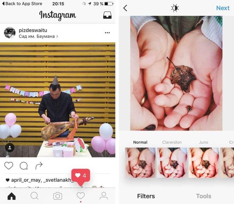 Novo design P&B sendo testado pelo Instagram