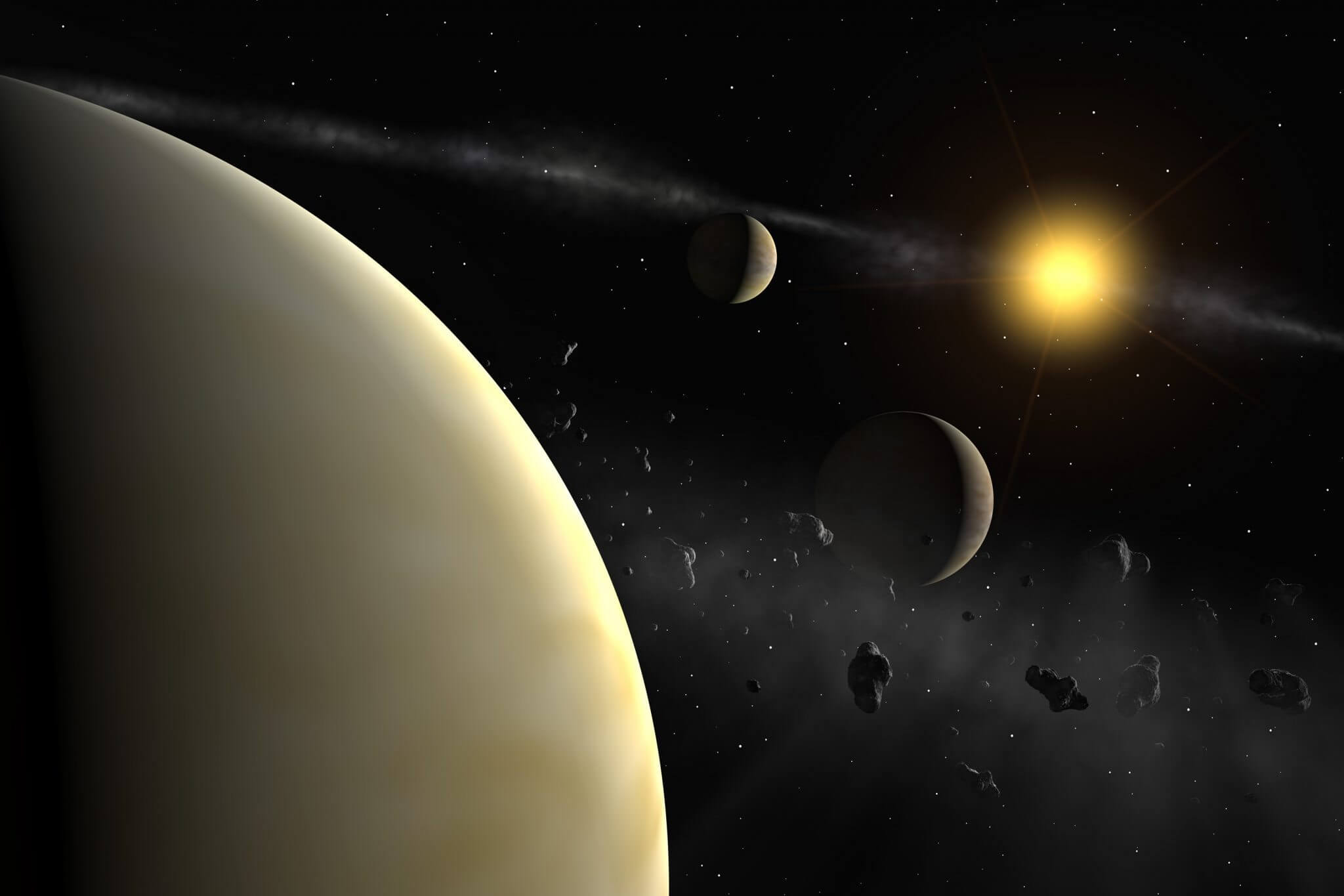 The HARPS measurement reveal the presence of three planets with masses between 10 and 18 Earth masses around HD 69830, a rather normal star slightly less massive than the Sun. The planets' mean distance are 0.08, 0.19, and 0.63 the mean distance between the Earth and the Sun. From previous observations, it seems that there exists also an asteroid belt, whose location is unknown. It could either lie between the two outermost planets, or farther from its parent star than 0.8 the mean Earth-Sun distance.