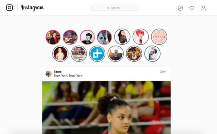 História do Instagram no navegador