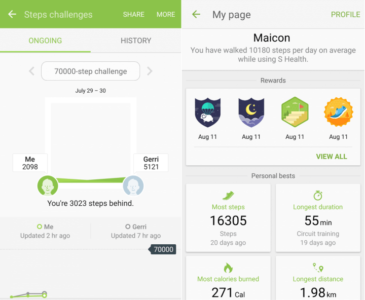 samsung shealth gamification