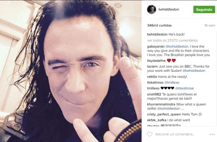 Tom Hiddleston, o Loki da Marvel só se juntou ao Instagram em 2016