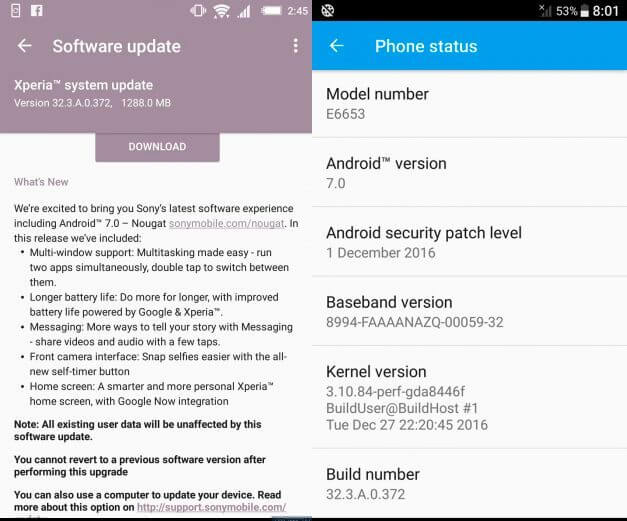 Xperia z5 android nougat