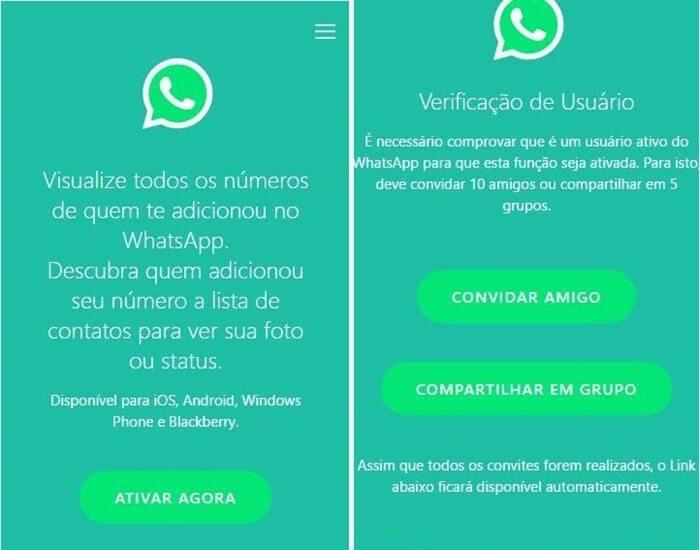 Gole do WhatsApp print PSafe - Não caia nessa: golpe no WhatsApp promete mostrar quem te adicionou