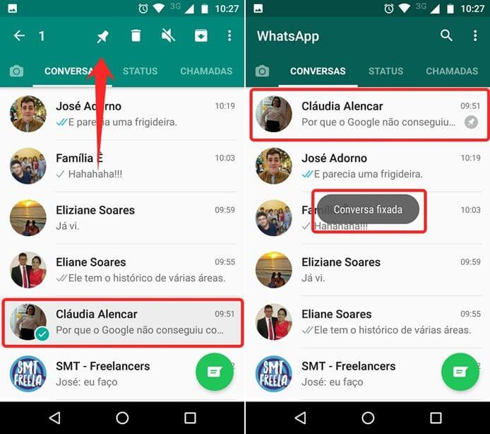 Função de fixar conversas no WhatsApp