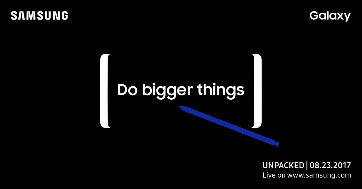 Convite do Galaxy Unpacked do Note 8