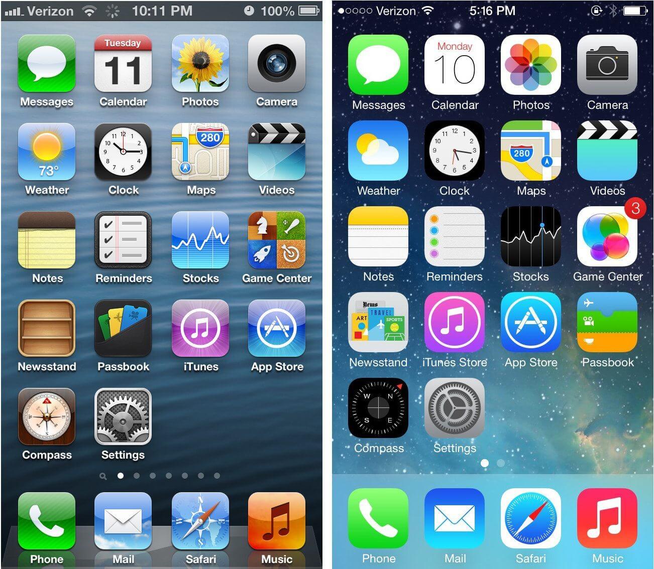 ios6 ios7 home screens - Pesquisa de Harvard indica que Apple deixa iPhones antigos mais lentos para vender novos aparelhos