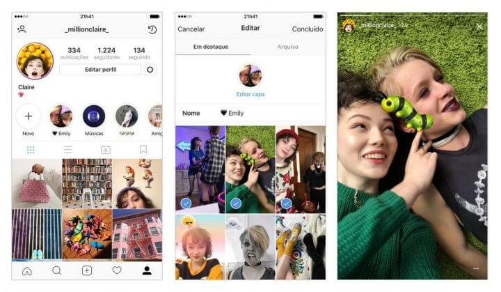 Instagram libera arquivo para seus stories e o novo Highlights