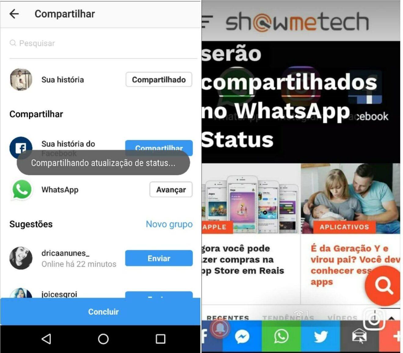 Como compartilhar a foto no Instagram Stories e WhatsApp Status ao mesmo tempo 6