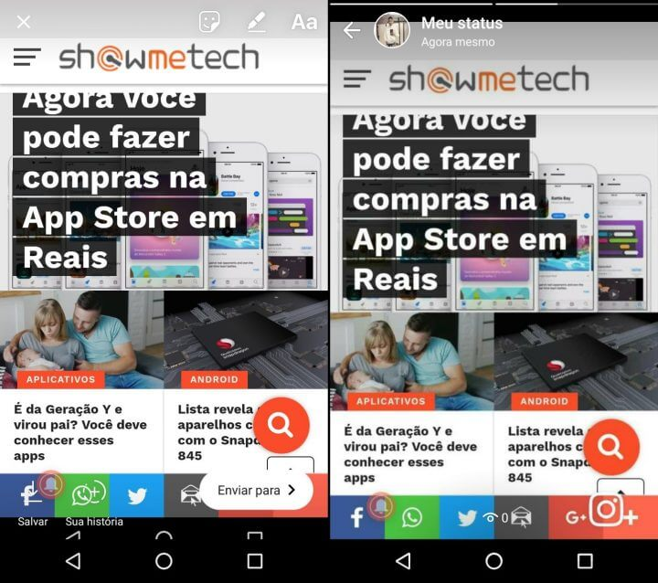 À esquerda Stories e à direita WhatsApp