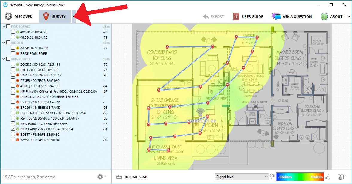 3 ns win survey heatmap screen - NetSpot: melhore o sinal de Wi-Fi da sua casa ou ambiente de trabalho