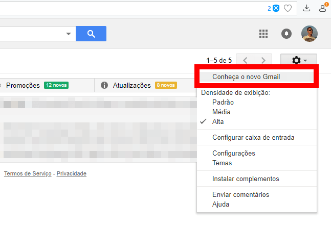 2 1 - Tutorial: Como ativar o novo design do Gmail