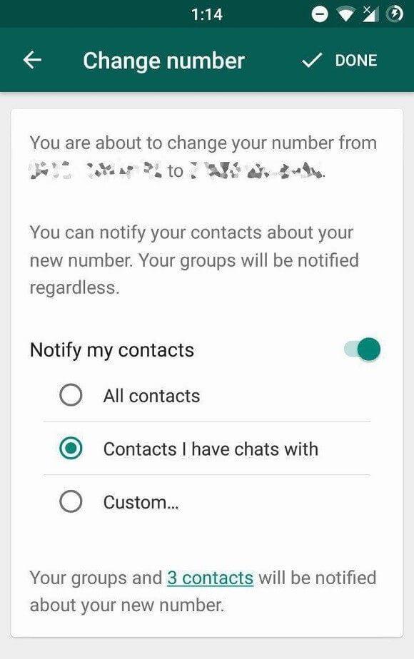 Whatsapp está trazendo novo recurso para quem vai trocar de número. Nova função permite mandar uma mensagem sobre troca de número para todos os contatos do whatsapp ou selecionar apenas alguns manualmente