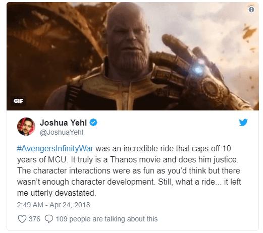 Vingadores: Guerra Infinita surpreende nas primeiras reações ao filme